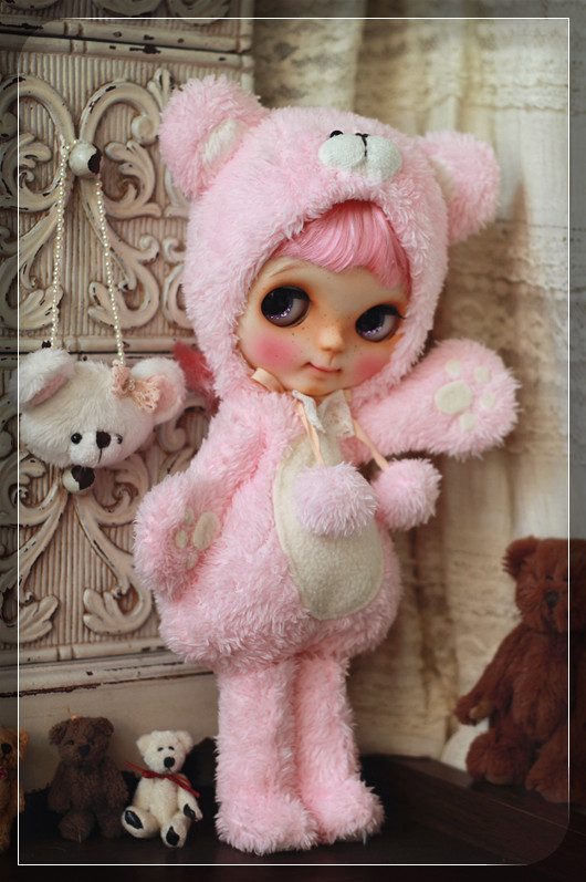 Blythe - Pink Bear Outfit For Blythe by Chilly Qi
